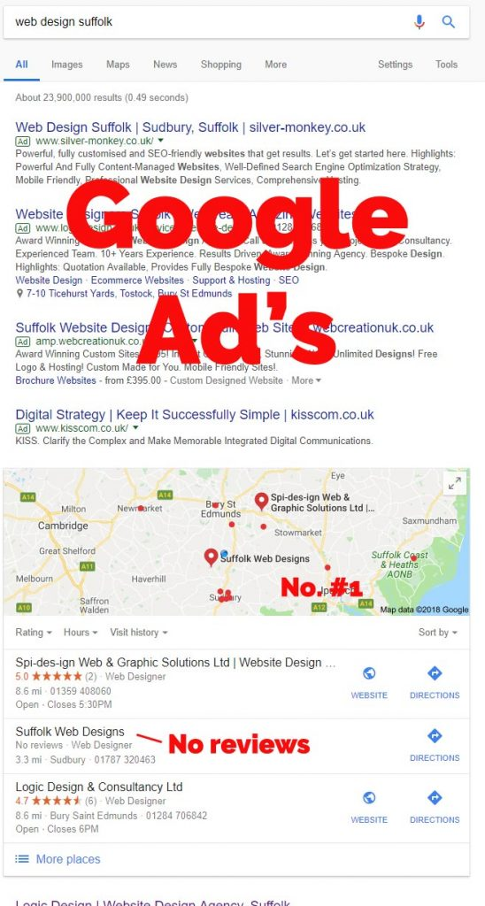 Web Design Suffolk map